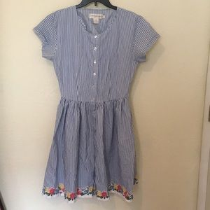 Vintage blue and white striped dress